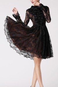 Rabbit-Trimmed-Lace-Dress