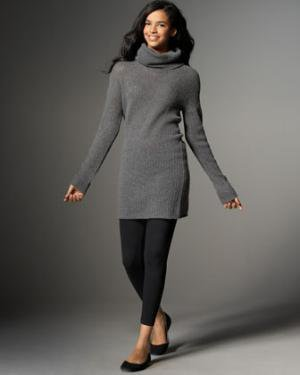 Gray Sweater Dress with Leggings